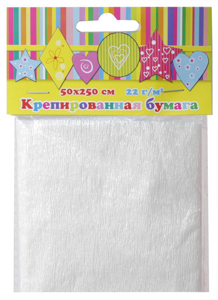 Феникс+ Бумага крепированная цвет белый перламутр 50 х 250 см