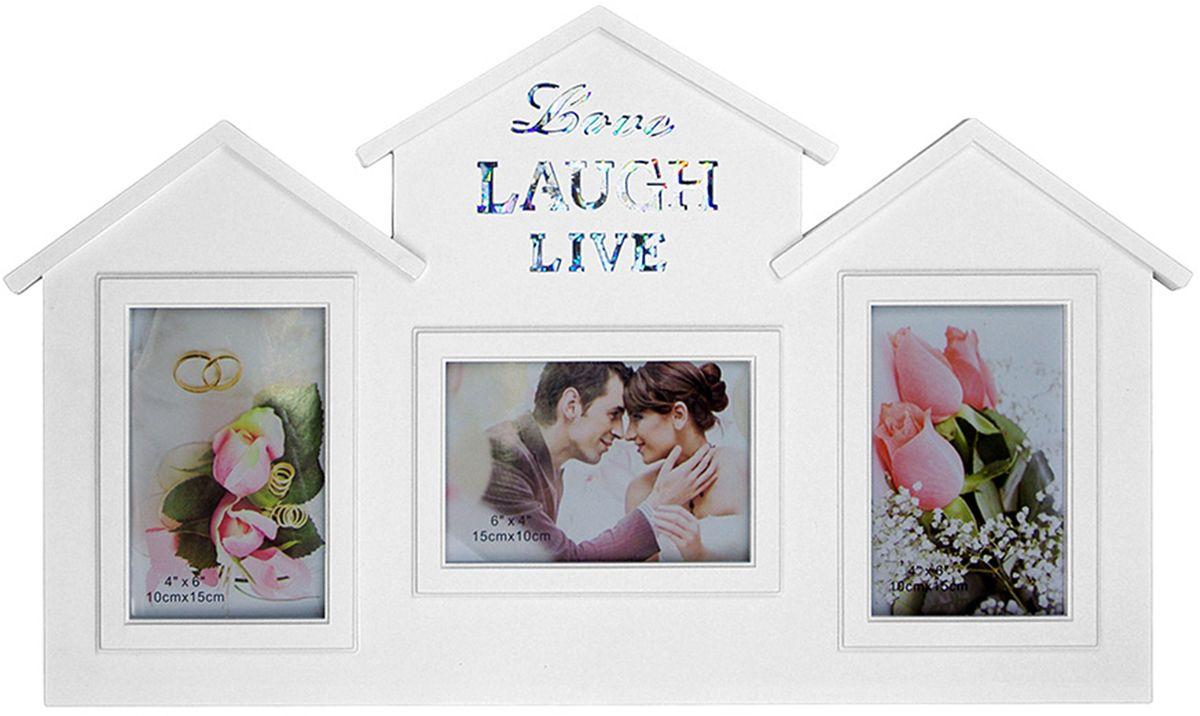 Фоторамка-коллаж Platinum Love, Laugh, Live, цвет: белый, 3 фоторамки. BH-1501-W фоторамка друзья на 3 фото цвет белый 1262615