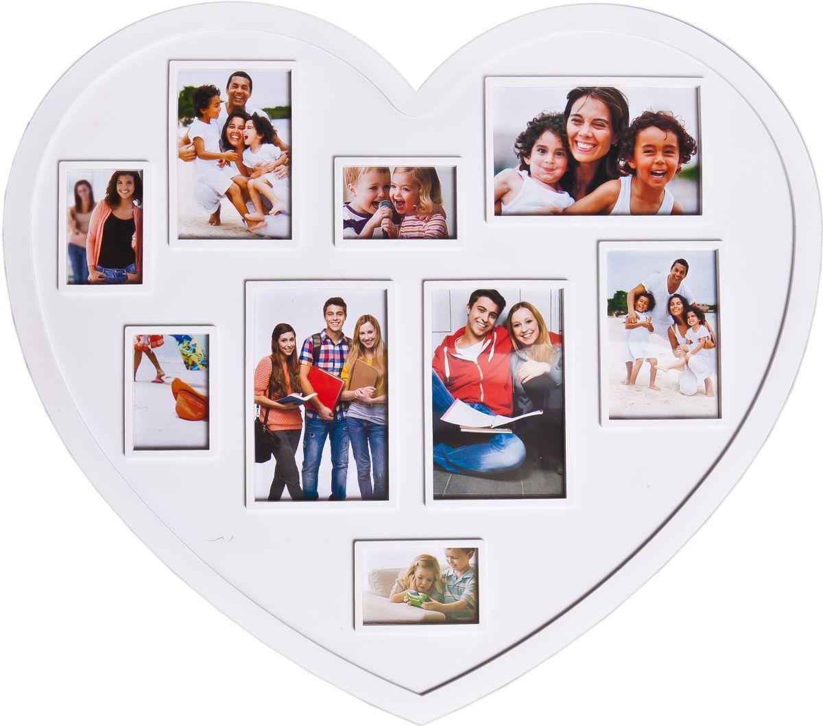 Фоторамка-коллаж Platinum, цвет: белый, на 9 фото фоторамка друзья на 3 фото цвет белый 1262615