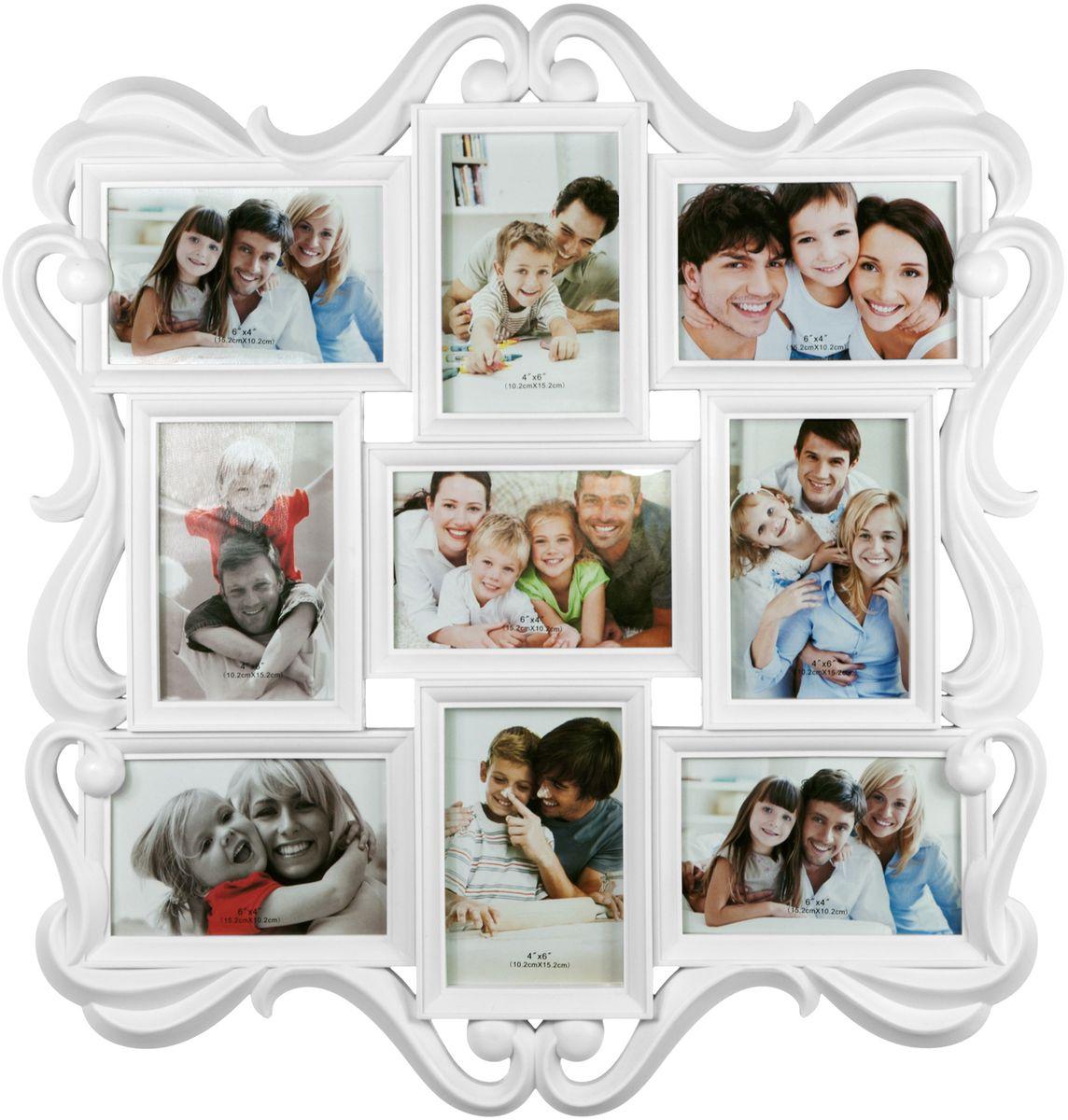 Фоторамка Platinum, цвет: белый, на 9 фото, 10 х 15 см. BIN-1122982-W фоторамка platinum цвет бежевый на 5 фото bin 1123349 cr
