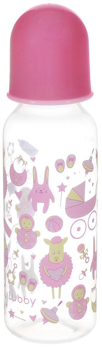 Lubby Бутылочка для кормления с силиконовой соской Малыши и малышки от 0 месяцев цвет розовый 250 мл lubby бутылочка для кормления с силиконовой соской малыши и малышки от 0 месяцев цвет зеленый голубой 250 мл