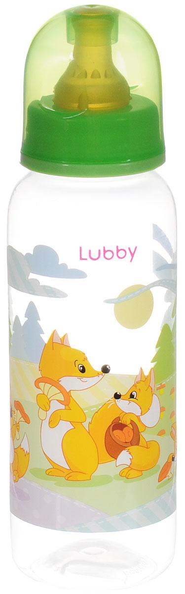 Lubby Бутылочка для кормления с латексной соской Веселые животные от 0 месяцев цвет светло-зеленый 250 мл lubby бутылочка для кормления с латексной соской веселые животные от 0 месяцев 125 мл