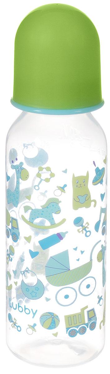Lubby Бутылочка для кормления с силиконовой соской Малыши и малышки от 0 месяцев цвет зеленый голубой 250 мл lubby бутылочка для кормления с латексной соской веселые животные от 0 месяцев 125 мл