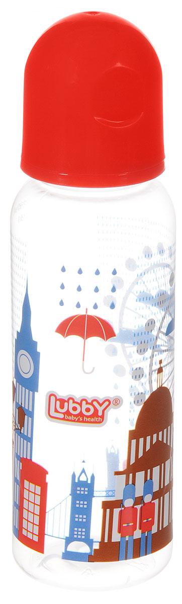 Lubby Бутылочка для кормления с силиконовой соской Я люблю Лондон от 0 месяцев цвет коралловый 250 мл