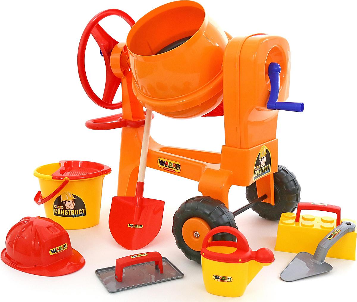 Полесье Бетономешалка Construct + набор игрушек для песочницы каменщика №7 Construct, цвет в ассортименте игрушка полесьенабор каменщика 5 construct 50199