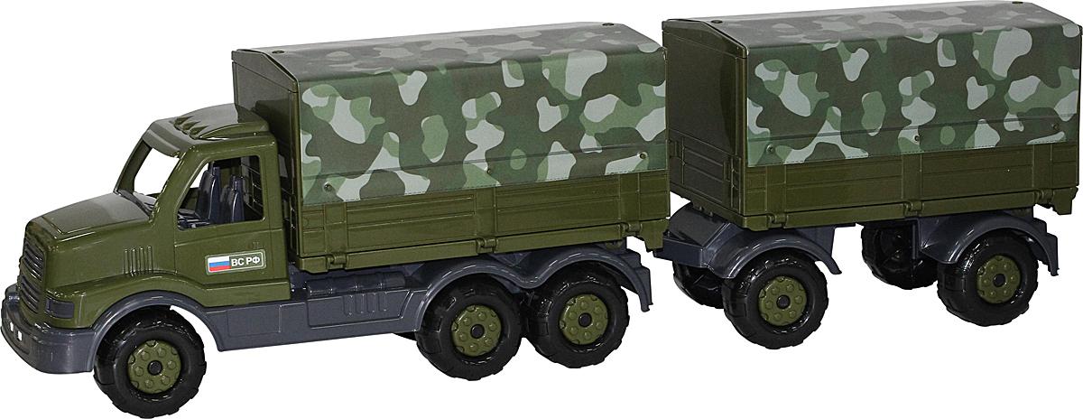 где купить Полесье Грузовик военный бортовой тентовый с прицепом Сталкер, цвет в ассортименте дешево