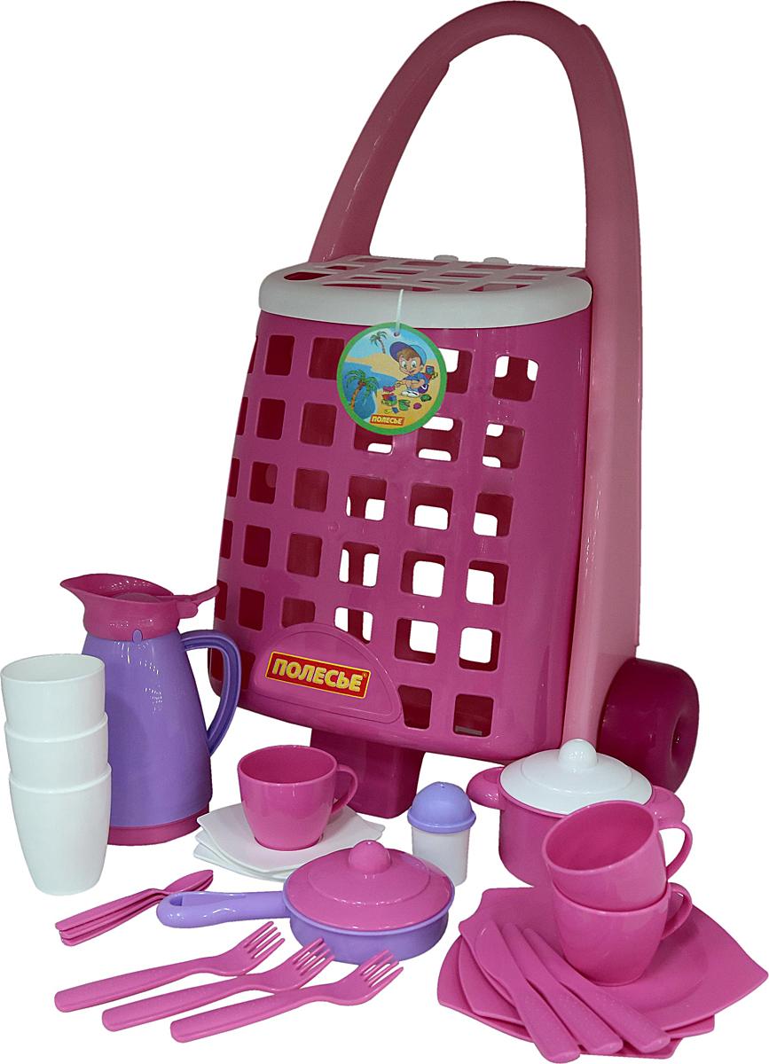 Фото - Полесье Забавная тележка с набором игрушечной детской посуды, цвет в ассортименте полесье игрушечная тележка supermarket 1 с набором продуктов цвет в ассортименте