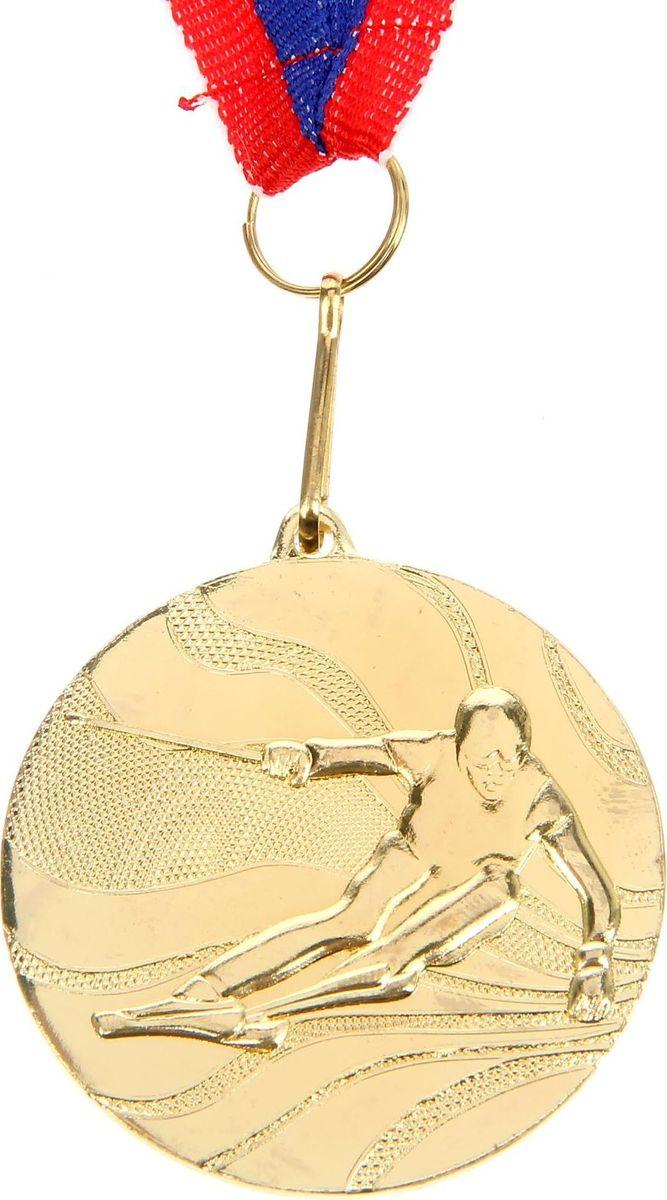 Медаль сувенирная Лыжи, цвет: золотистый, диаметр 5 см. 067 медаль сувенирная лучшие родители на свете диаметр 4 см