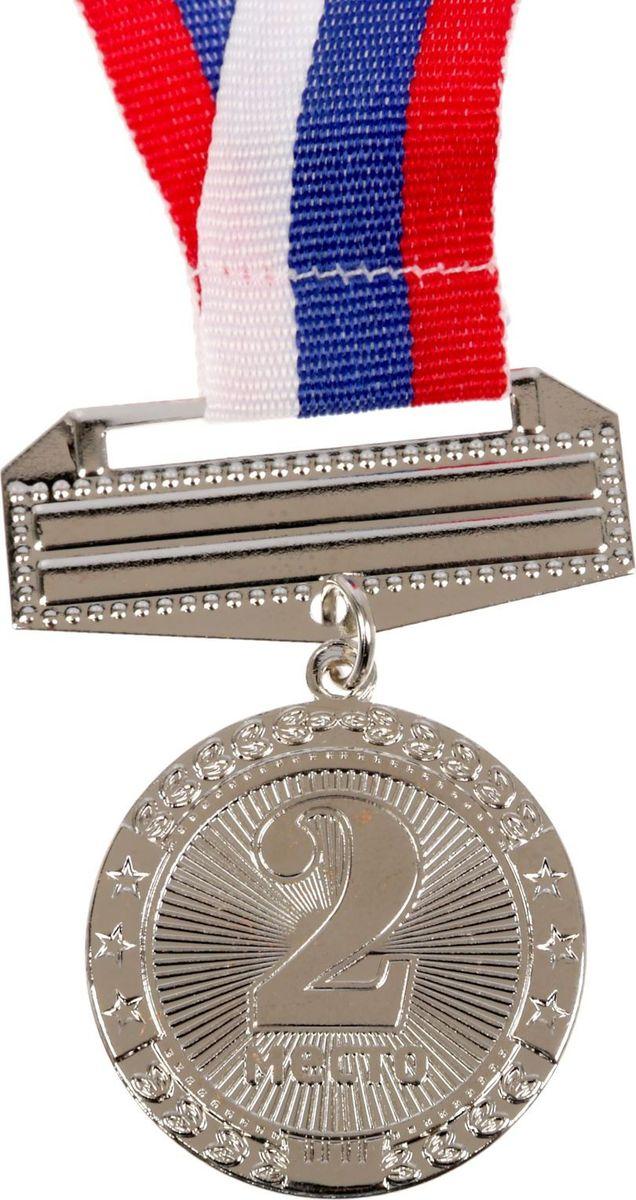 Медаль сувенирная 2 место, цвет: серебристый, диаметр 3,5 см. 065 украшение сима ленд набор шаров звёзды и подарки 19шт 1400075