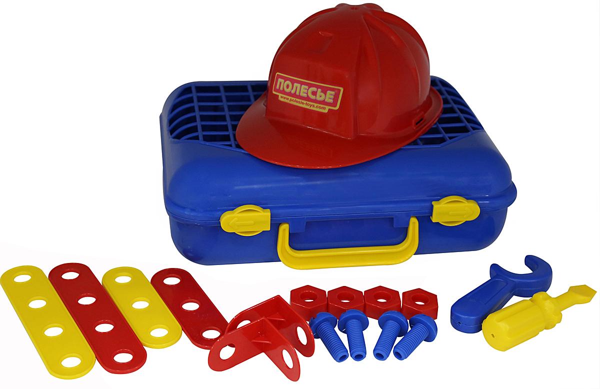Полесье Игровой набор Механик 43177, цвет в ассортименте43177Набор для мальчиков Механик, состоящий из отвертки, гаечного ключа, а также соединительных пластин, уголков, болтов, гаек и самого главного атрибута слесаря - каски.Набор отлично подойдет для первого знакомства мальчика со слесарным инструментом, его назначением, принципами работы. Укомплектованы элементы набора в чемоданчик, который упрощает их перемещение. Уважаемые клиенты! Обращаем ваше внимание на цветовой ассортимент товара. Поставка осуществляется в зависимости от наличия на складе.