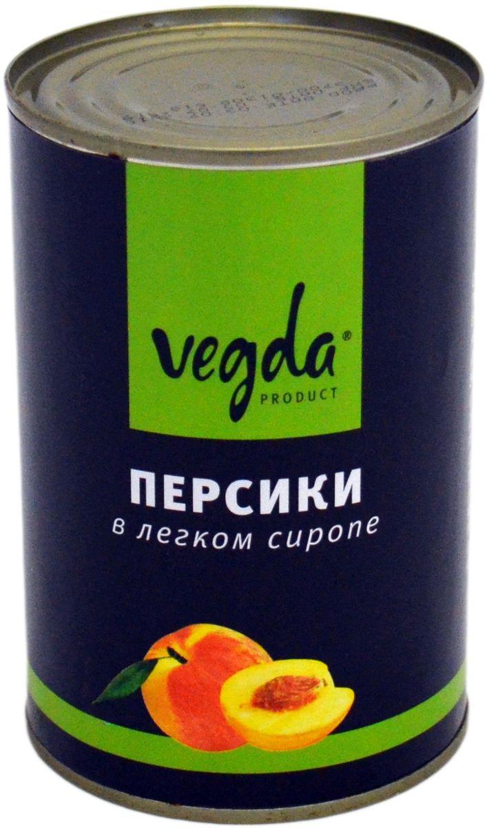 Vegda персики в сиропе, 425 мл mikado мандарины дольками в сиропе 425 мл