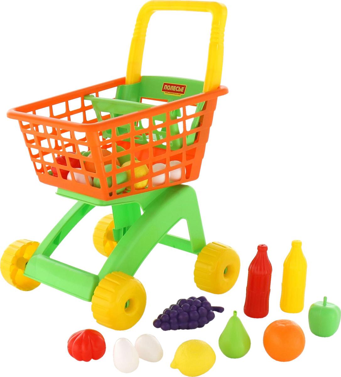 Фото - Полесье Игрушечная тележка для магазина набор продуктов № 6, 19 предметов, цвет в ассортименте полесье игрушечная тележка supermarket 1 с набором продуктов цвет в ассортименте