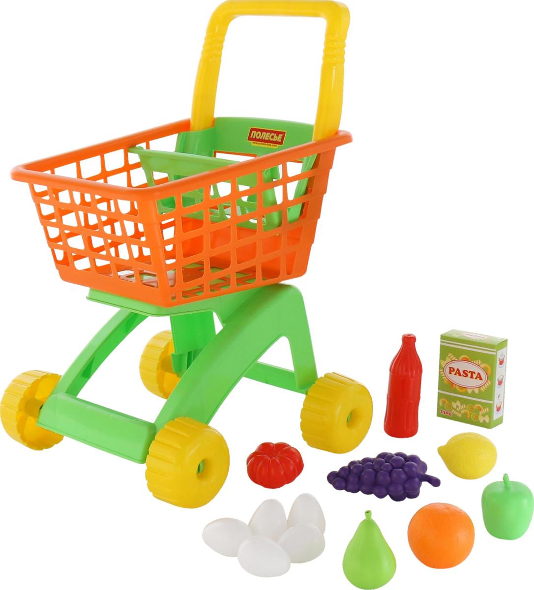 Полесье Игрушечная тележка для магазина с набором продуктов № 8, 12 предметов, цвет в ассортименте какие игрушки интересны для малыша 8 месяцев фото
