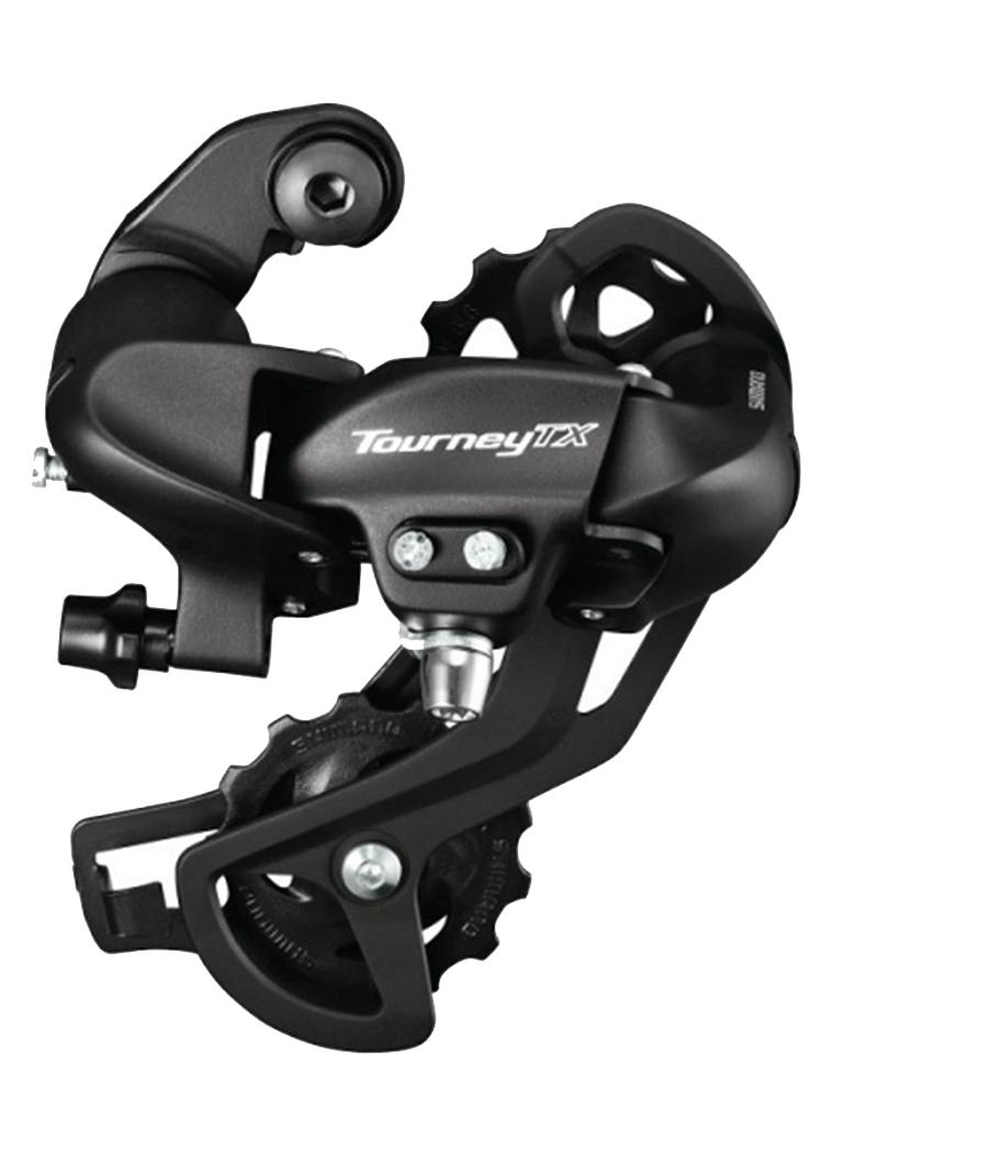 Переключатель задний Shimano Tourney TX800, 7/8 скоростей, крепление на петух, цвет: черный