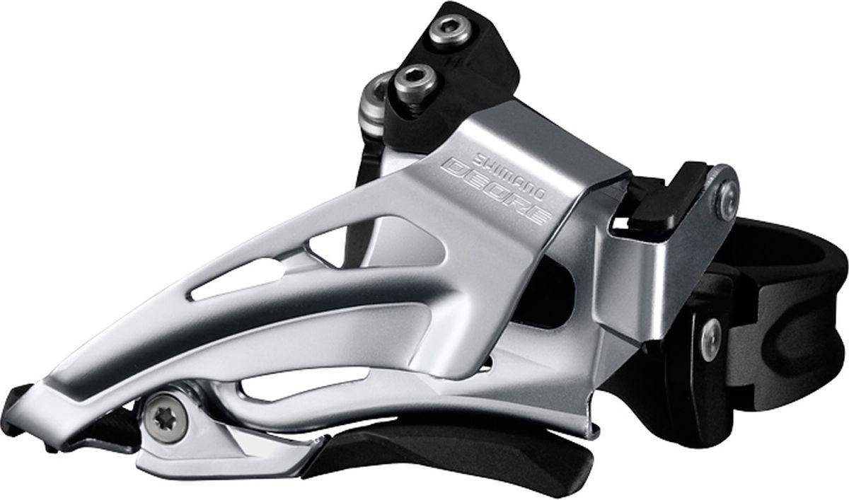 """Переключатель передний Shimano """"Deore M618-L"""", для 2 x 10 скоростей, нижний хомут (34,9 с адаптером 28.6/31.8), нижняя тяга, цвет: черный"""