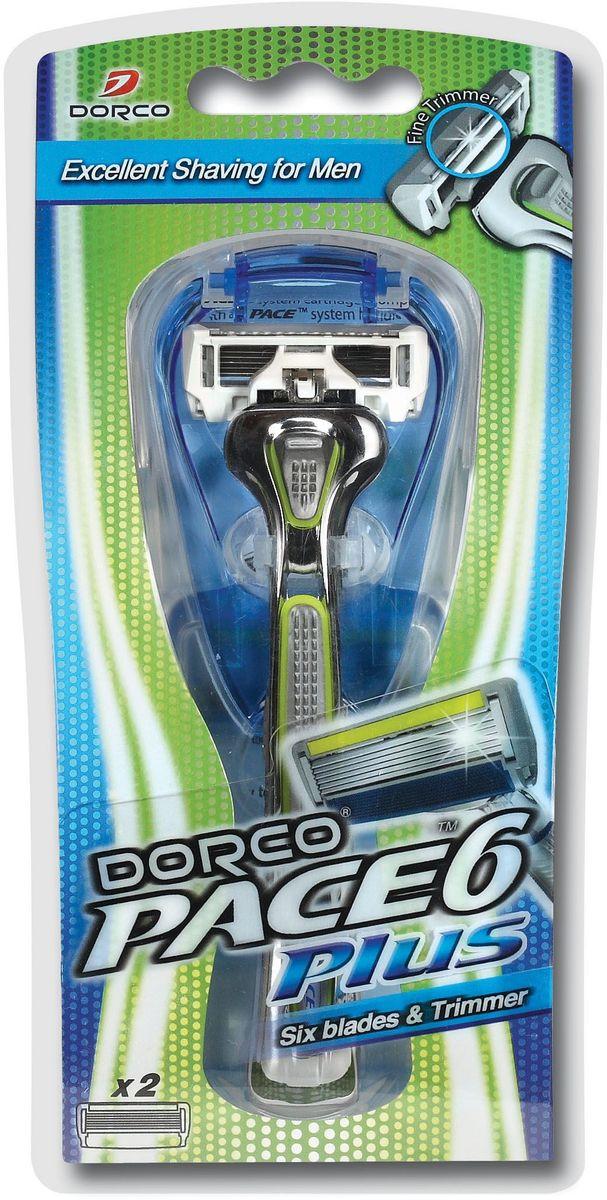 """Dorco Cтанок для бритья """"Pace 6"""", с триммером, 2 сменные кассеты"""