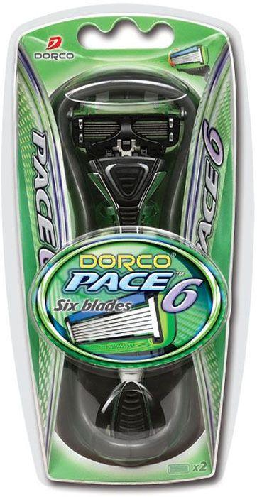 Dorco Cтанок для бритья Pace 6, 2 сменные кассеты станок для бритья dorco
