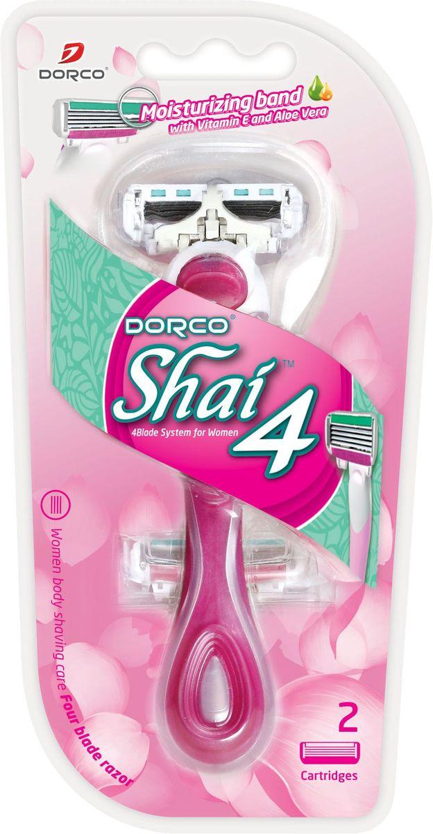 """Dorco Cтанок для бритья """"Shai 4"""", женский, 2 сменные кассеты"""
