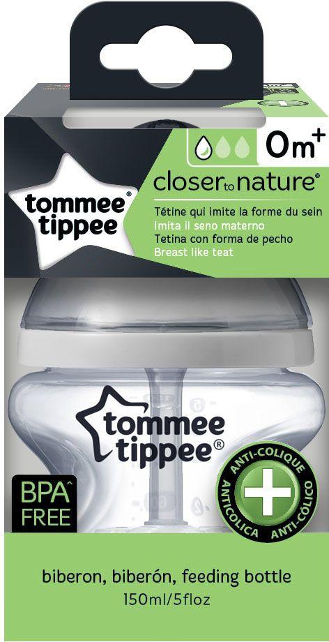 Tommee Tippee бутылочка для кормления с усиленным антиколиковым клапаном и индикатором температуры 150 мл для кормления малыша