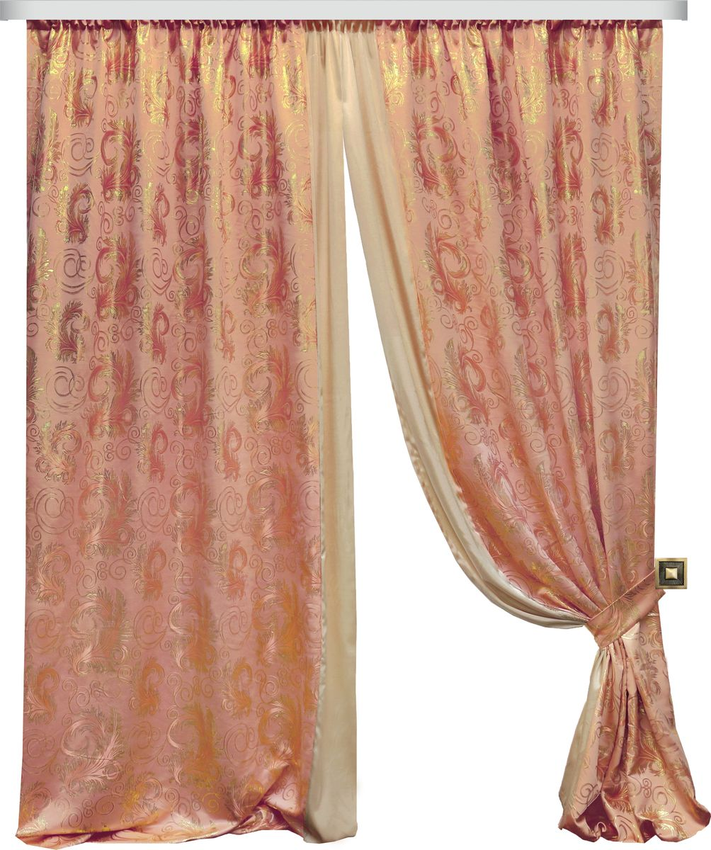 Комплект штор Zlata Korunka, на ленте, цвет: персиковый, высота 270 см. 777098777098Роскошный комплект штор Zlata Korunka комплект состоит из двух штор и двух подхватов, выполненных из 100% полиэстера, которые великолепно украсит любое окно. Плотная ткань, оригинальный орнамент и приятная цветовая гамма привлекут к себе внимание и органично впишутся в интерьер помещения. Комплект крепится на карниз при помощи шторной ленты, которая поможет красиво и равномерно задрапировать верх. Этот комплект будет долгое время радовать вас и вашу семью! В комплект входит: Штора: 2 шт. Размер (ШхВ): 180 см х 270 см. Подхват: 2 шт.