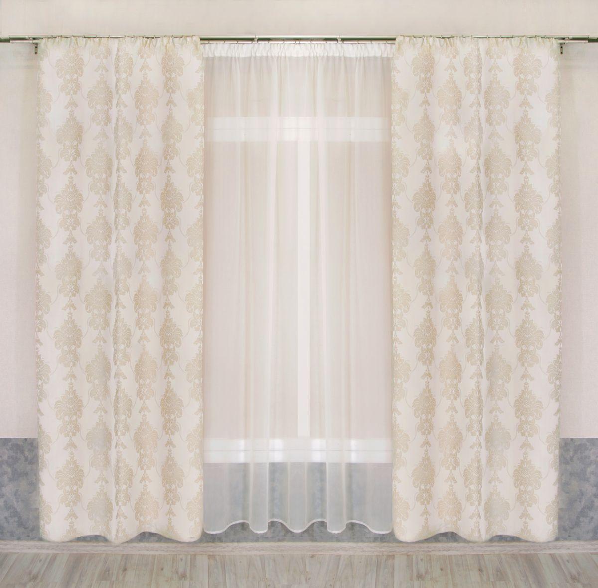 Комплект штор Zlata Korunka, на ленте, цвет: кремовый, высота 250 см. 777109 комплект штор zlata korunka на ленте цвет кремовый высота 250 см 777109