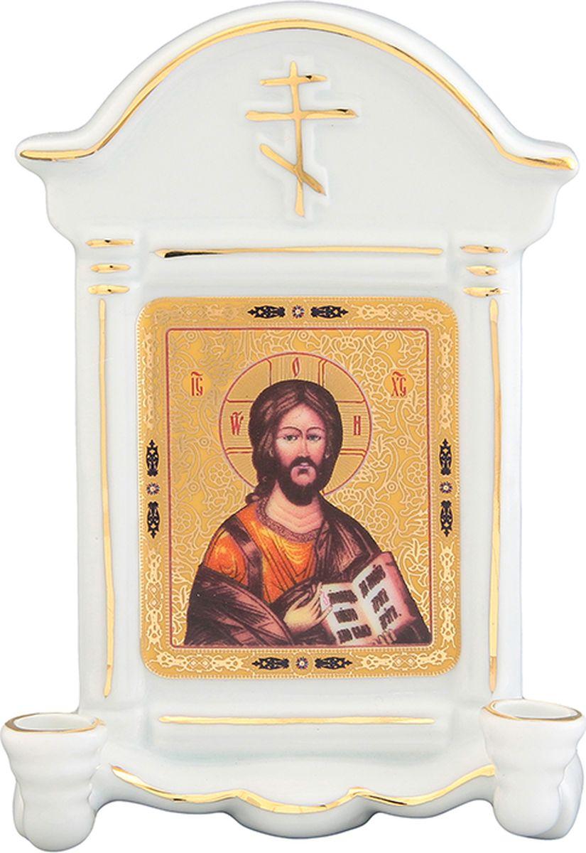 Икона Elan Gallery Иисус Христос, с 2 подсвечниками, с молитвой Благословение дома, 9 х 4,5 х 12,5 см икона иисус христос