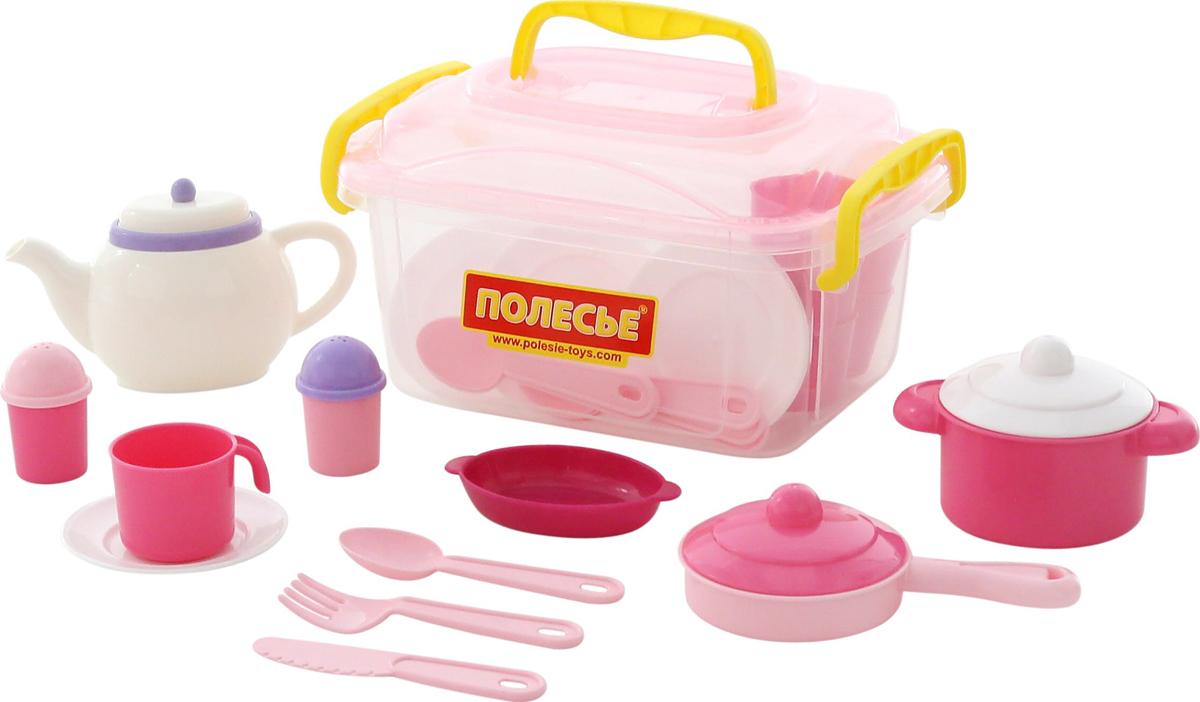 Полесье Набор игрушечной посуды Настенька 59055, цвет в ассортименте полесье набор для пикника 9 на 6 персон 54 элемента в контейнере