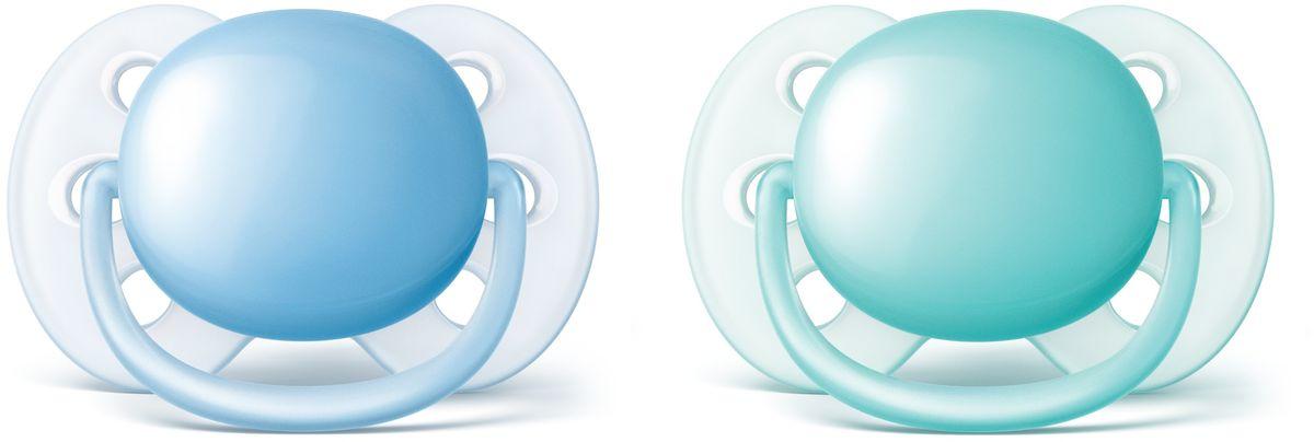Philips Avent Пустышка силиконовая ортодонтическая Ultra Soft для мальчиков от 0 до 6 месяцев 2 шт SCF212/20