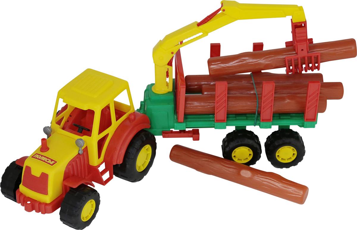 Полесье Трактор Мастер с полуприцепом-лесовозом, цвет в ассортименте полесье набор машинок самосвал volvo с полуприцепом трактор погрузчик цвет синий красный черный