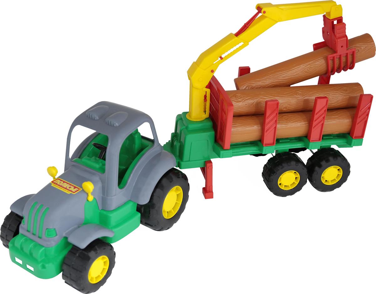 Полесье Трактор Силач с полуприцепом-лесовозом, цвет в ассортименте цена
