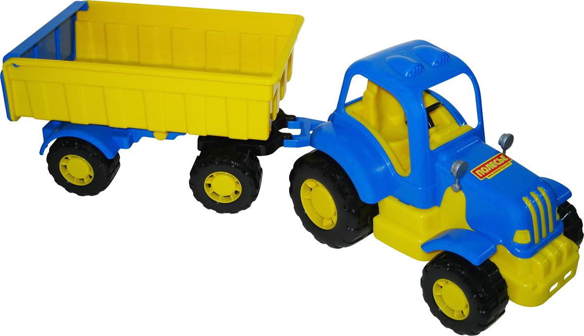 Полесье Трактор Силач с прицепом №1, цвет в ассортименте трактор zhorya трактор с прицепом цвет в ассортименте в85782