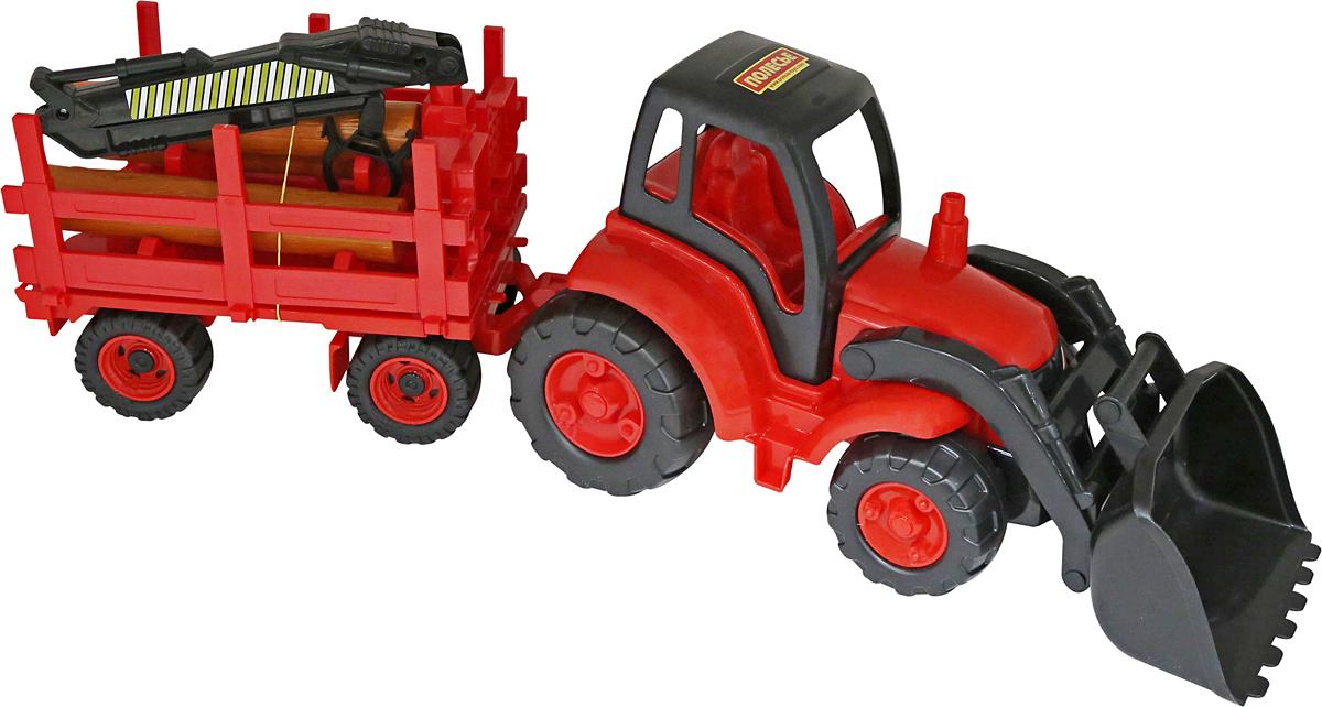 Полесье Трактор Чемпион с ковшом и прицепом-лесовозом, цвет в ассортименте polesie трактор с лопатой и ковшом чемпион полесье