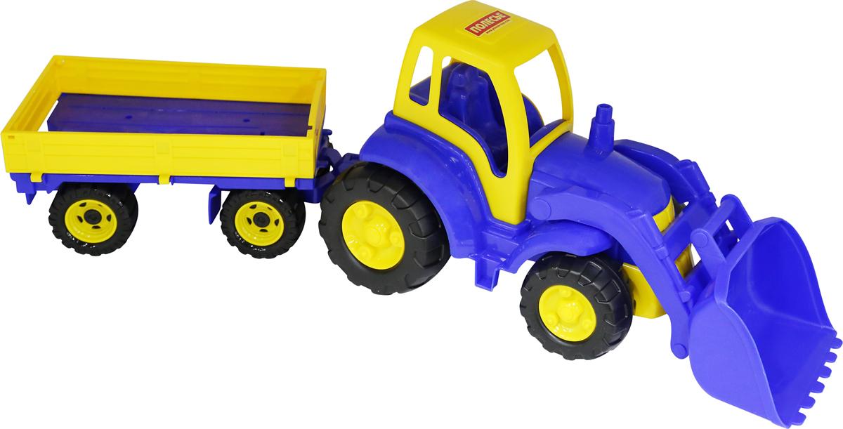 Полесье Трактор Чемпион с ковшом и прицепом, цвет в ассортименте polesie трактор с лопатой и ковшом чемпион полесье