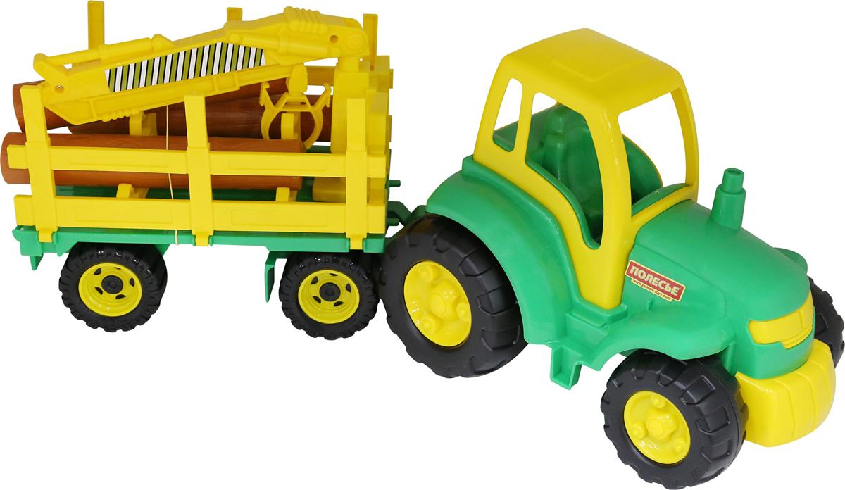 Полесье Трактор Чемпион с прицепом-лесовозом, цвет в ассортименте polesie трактор с лопатой и ковшом чемпион полесье