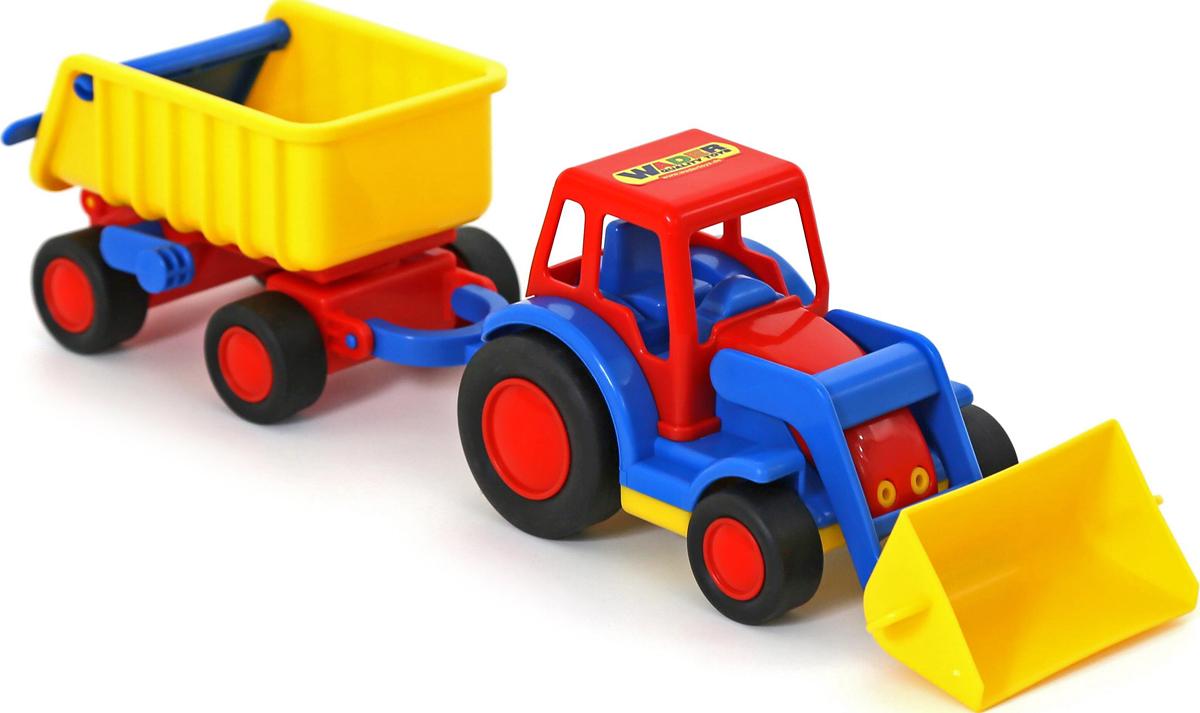 Полесье Трактор-погрузчик с прицепом Базик, цвет в ассортименте полесье трактор алтай с прицепом 1 цвет желтый синий
