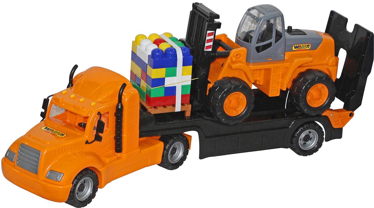 Фото - Полесье Трейлер Майк, автокар и конструктор Супер-Микс, 55699, 30 элементов, цвет в ассортименте полесье набор игрушек для песочницы 468 цвет в ассортименте