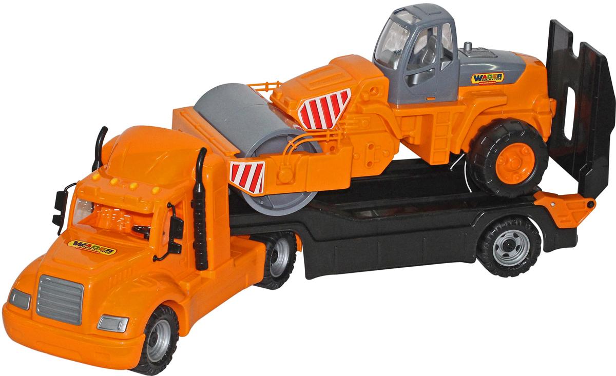 Полесье Трейлер Майк и дорожный каток 55712, цвет в ассортименте машина игрушечная с аксессуарами полесье volvo дорожный каток