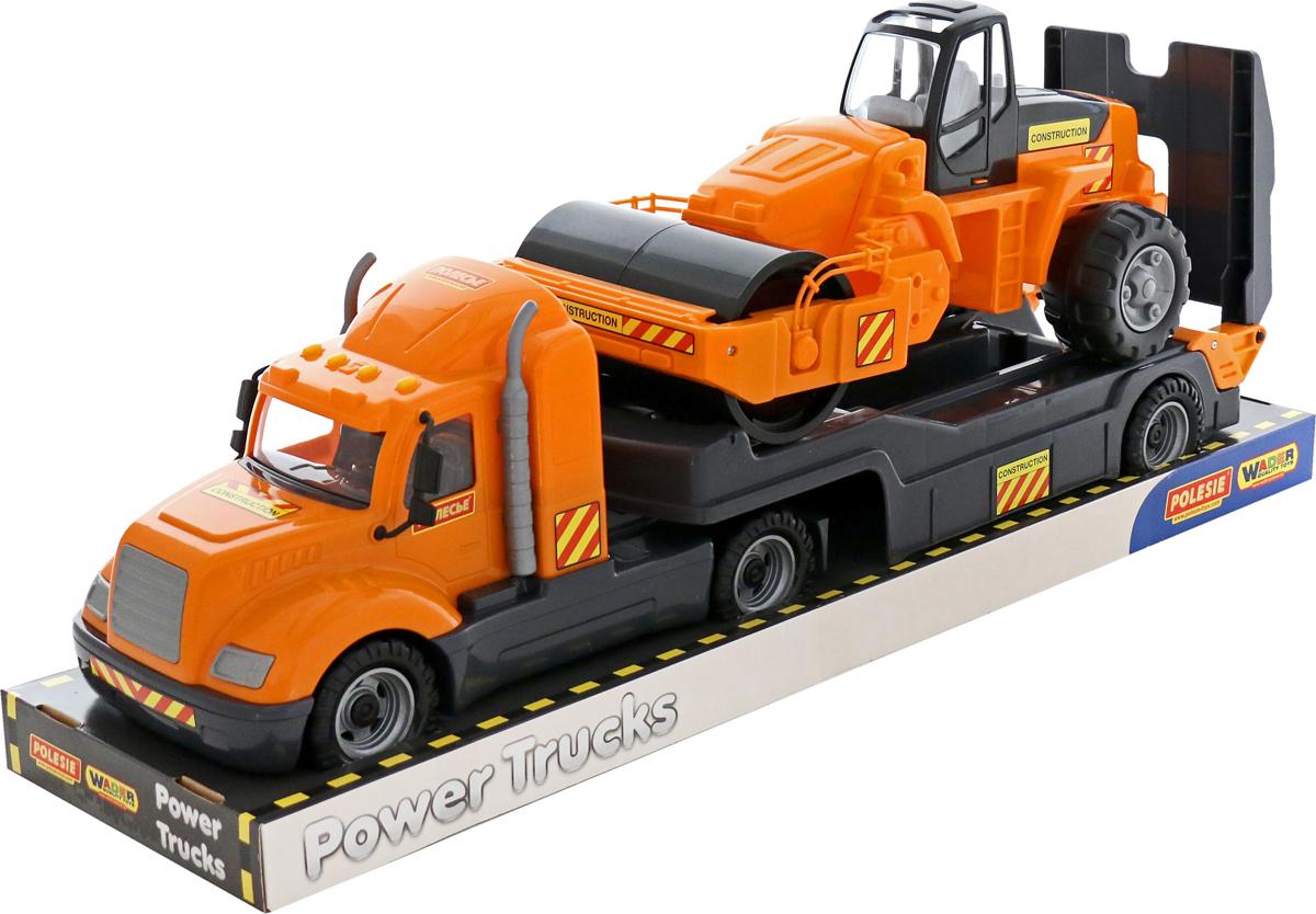Полесье Трейлер Майк + дорожный каток 58584, цвет в ассортименте машина игрушечная с аксессуарами полесье volvo дорожный каток