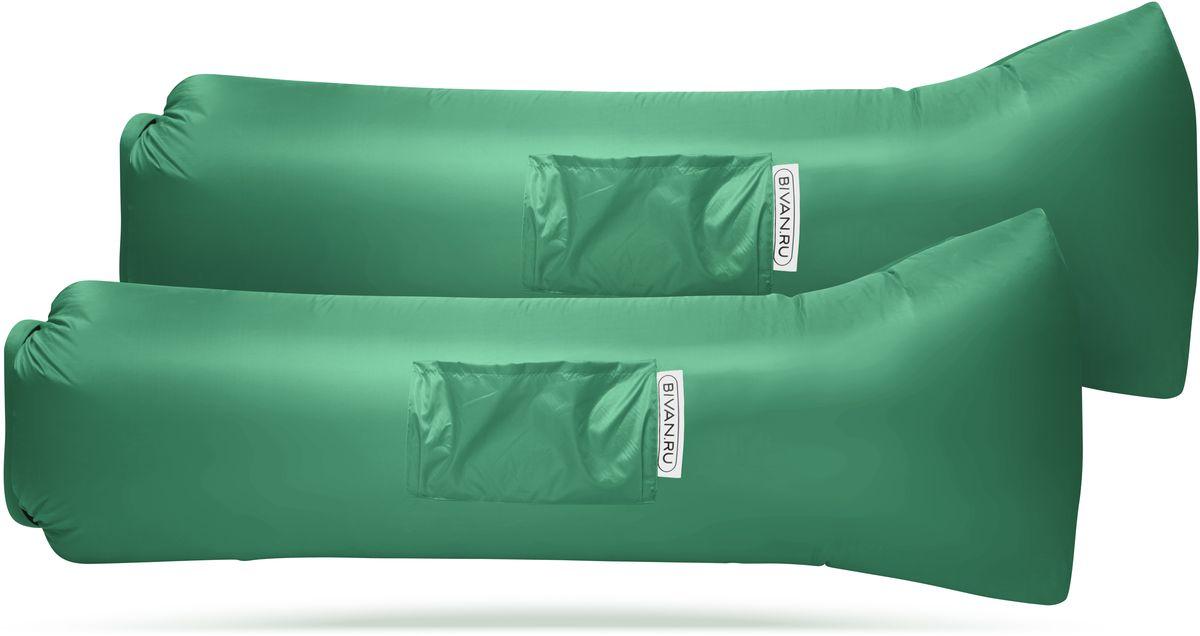 Диван надувной Биван 2.0, цвет: зеленый, 190 х 70 см, 2 штBVN17-COMPx2-GRNБиван 2.0 - это надувной гамак (лежак, диван) второго поколения. Доработанная, более устойчивая и удобная форма. Добавлена мембрана, крепления для подсветки и колышков. Быстронадуваемый. Чтобы подготовить биван к использованию, понадобится около 15 секунд. Какой насос? Кому теперь нужен насос?! Для любых поверхностей. Биван выполнен из прочного износостойкого текстиля со специальной пропиткой. Ему не страшны трава, камни, вода и песок. Лежите, где хотите. 12 часов релакса. Биван способен удерживать воздух более 12 часов, что позволит вам использовать его и для сна. Ремонтопригодность. Производитель создал полноценный ремкомплект, так что если вдруг биван окажется поврежден, потребуется всего 15 минут, чтобы вернуть его в форму. Компактность и удобство. В сложенном виде габариты бивана - 35 х 15 х 11 см. Вес бивана с сумкой - 1500 грамм. Полная длина в развернутом виде - 200 см, ширина - 80 см. Полезная длина в надутом виде - 190 см, ширина - 70 см.