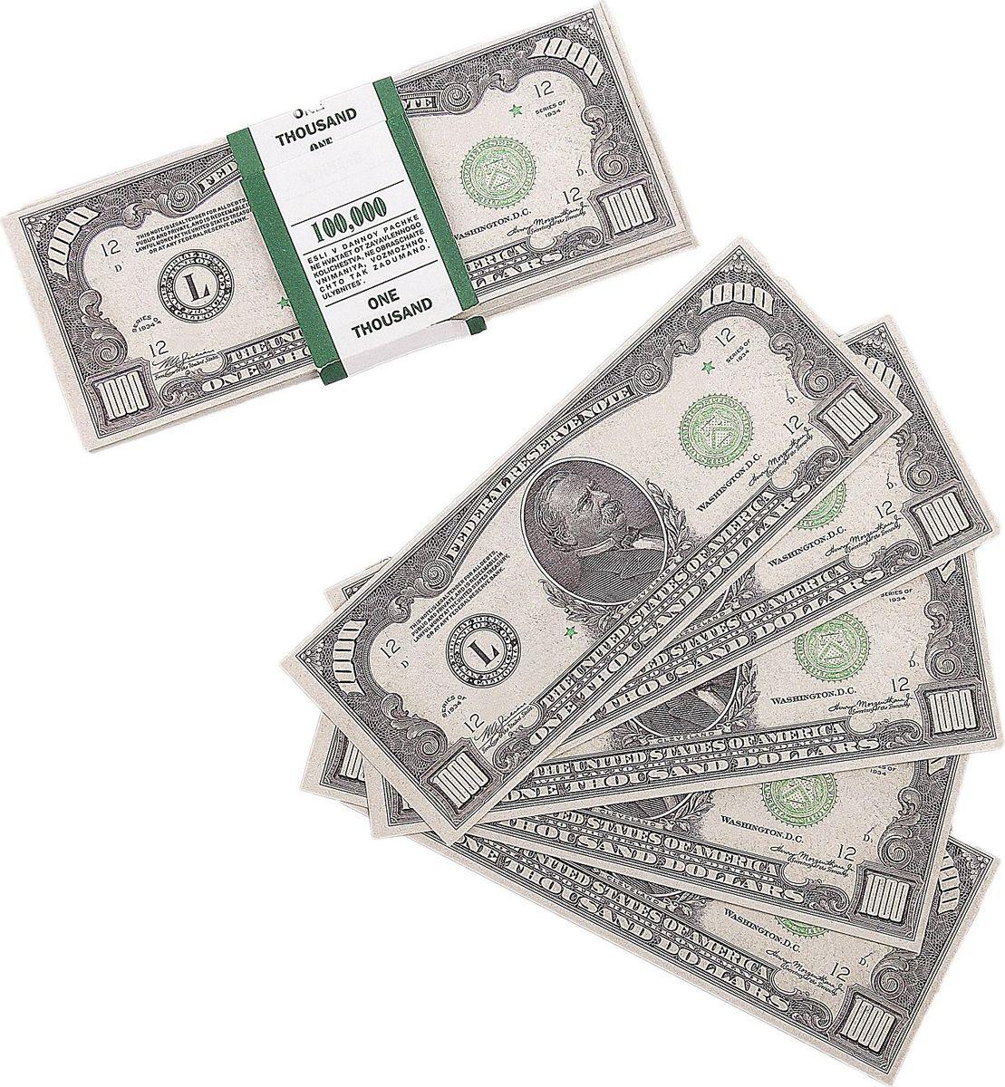 Деньги сувенирные ОКеюшки Пачка купюр 1000 долларов деньги сувенирные океюшки пачка купюр 50 долларов