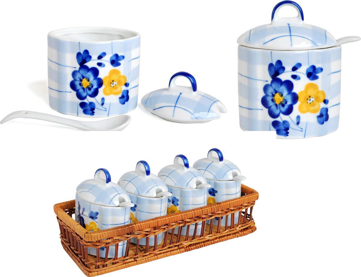 """Набор банок для сыпучих продуктов """"Bayerhoff"""", в корзине, с ложками, 9 предметов. BH-190"""