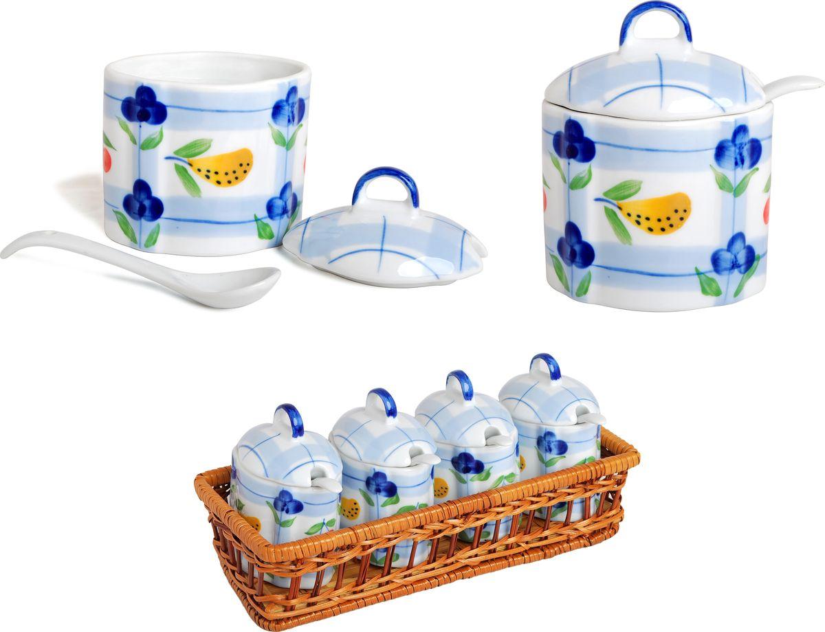 """Набор банок для сыпучих продуктов """"Bayerhoff"""", в корзине, с ложками, 9 предметов. BH-191"""