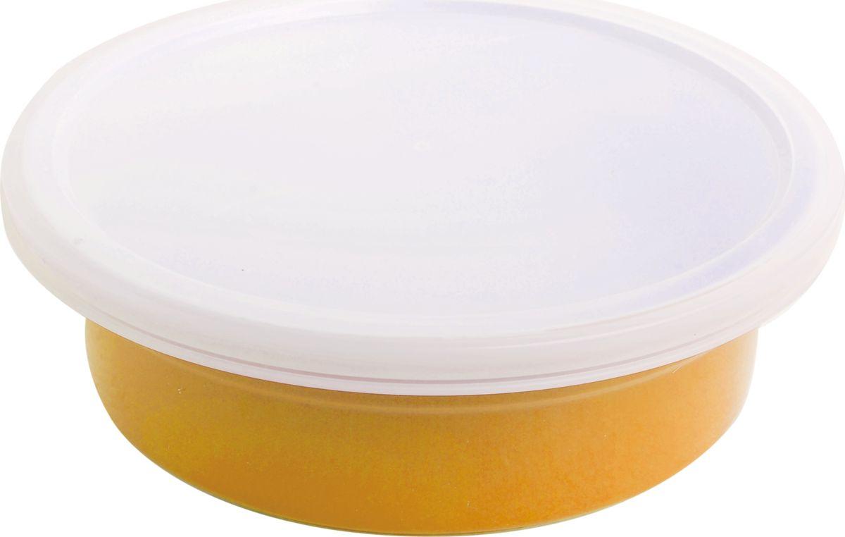 """Противень керамический """"Frank Moller"""", круглый, с крышкой, цвет: желтый, 20,3 х 20,3 х 6 см"""