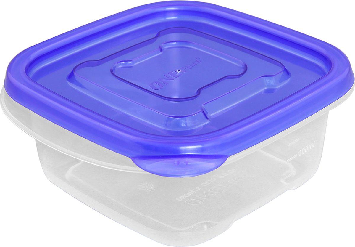 Контейнер пищевой One plus, квадратный, цвет: синий, 250 мл. 810047 брюки для беременных one plus one цвет темно синий v632335 размер 46