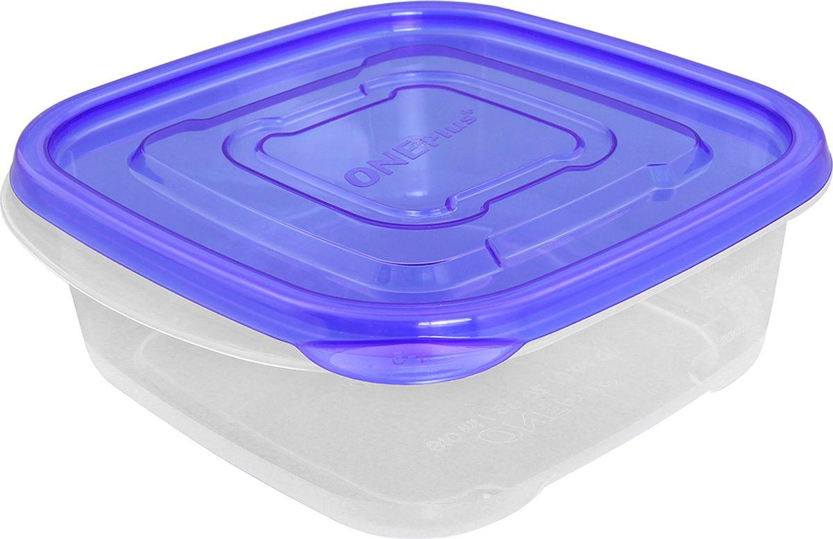 Контейнер пищевой One plus, цвет: прозрачный, синий, 610 мл. 810048 брюки для беременных one plus one цвет темно синий v632335 размер 46