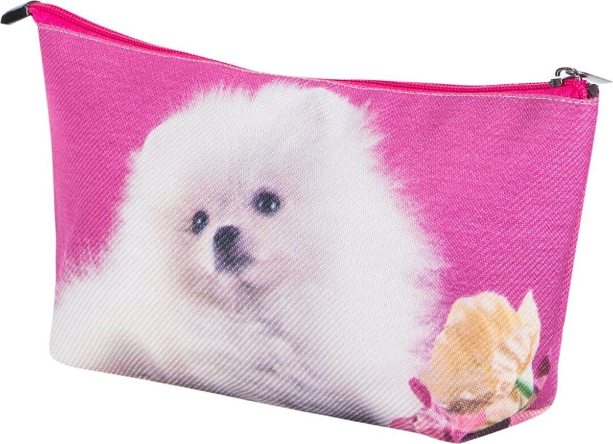 Косметичка женская Рапира Белый шпиц, цвет: розовый, белый. К002 косметичка женская kimmidoll цвет розовый kf1193