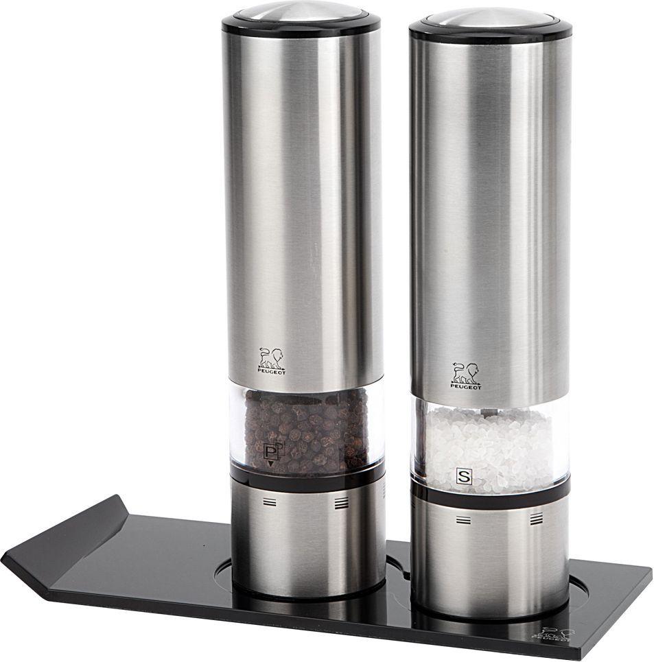 Фото - Набор мельниц для соли и перца Peugeot Duo Sense + Alpha, электрических, с подставкой, высота 20 см peugeot набор мельниц для соли и перца электрических на подставке 2 27162 peugeot