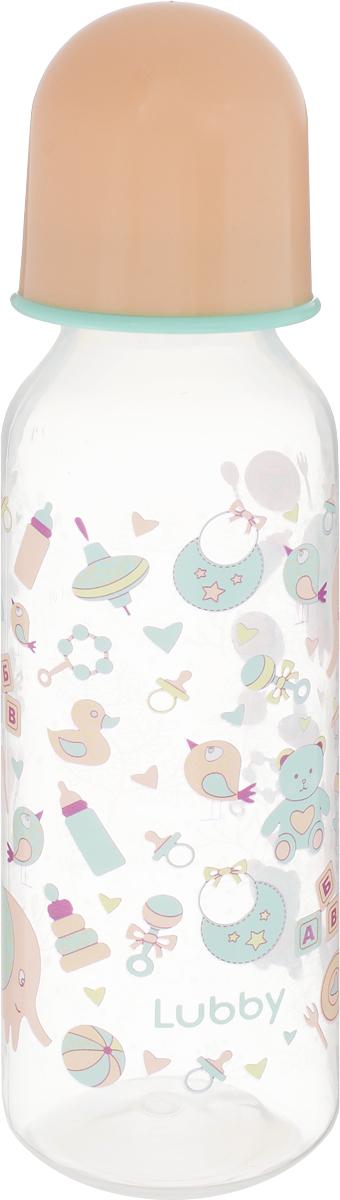 Lubby Бутылочка для кормления с силиконовой соской Малыши и малышки от 0 месяцев цвет персиковый 250 мл lubby бутылочка для кормления с латексной соской веселые животные от 0 месяцев 125 мл
