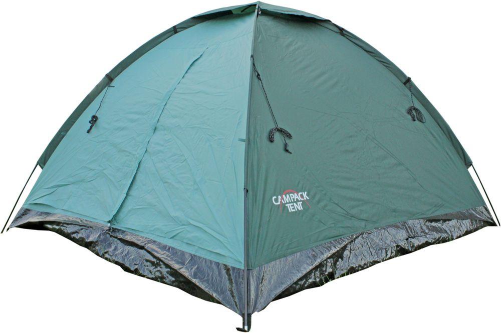 Палатка Campack Tent Dome Traveler 4, 4-х местная, цвет: зеленый, черный