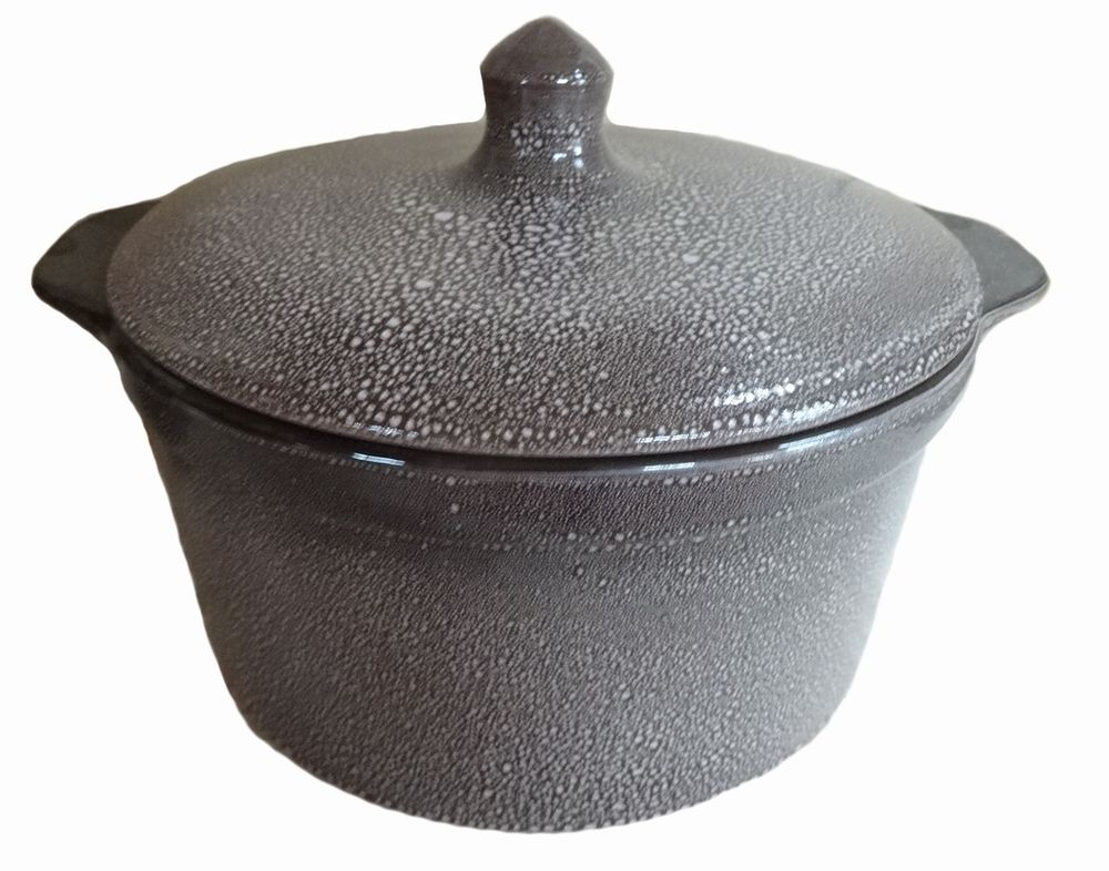 Кастрюля для запекания Борисовская керамика с крышкой, керамическая, 1 л кастрюля для запекания bayerhoff с крышкой в плетеной корзине керамическая 0 9 л bh 161